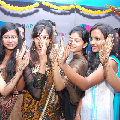 Vogue students celebrating Sankranti festival at college