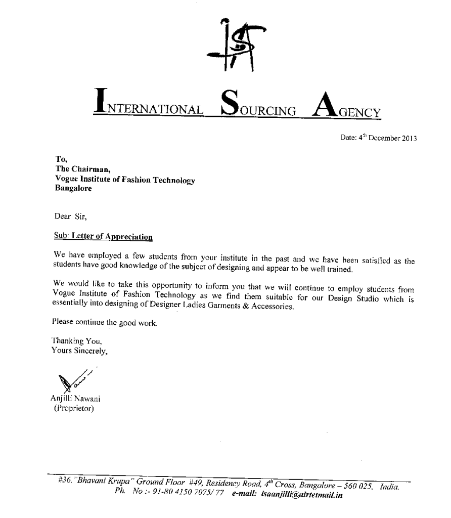 Placements Vogue Institute Of Fashion Technology