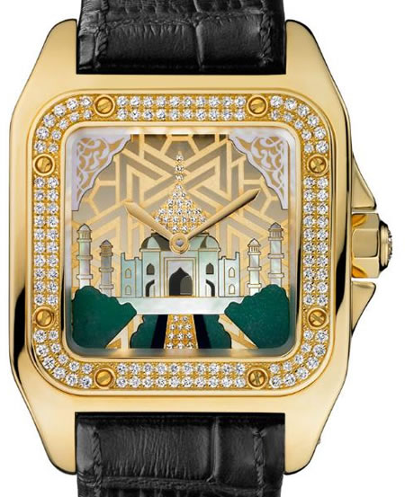 Limited edition Cartier Santos 100 'Taj Mahal' Watch